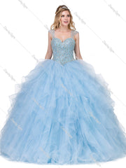 Beaded Sweetheart Ball Gown with Ruffled Skirt by Dancing Queen 1272-Quinceanera Dresses-ABC Fashion