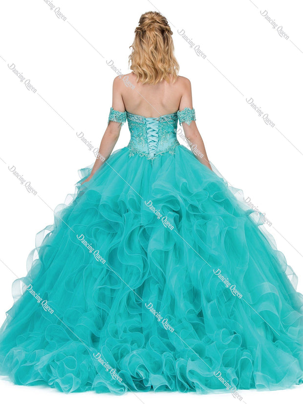 Beaded Sweetheart Ball Gown with Ruffled Skirt by Dancing Queen 1327-Quinceanera Dresses-ABC Fashion