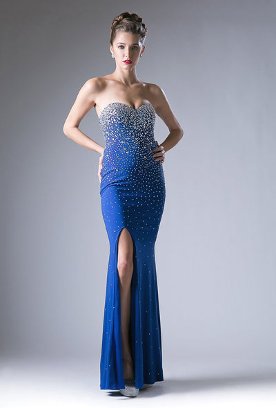 Beaded Sweetheart Long Dress with Slit by Cinderella Divine 2053-Long Formal Dresses-ABC Fashion
