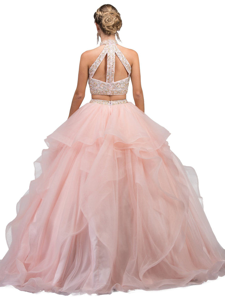 Beaded Two-Piece Ball Gown with Layered Skirt by Dancing Queen 1193-Quinceanera Dresses-ABC Fashion