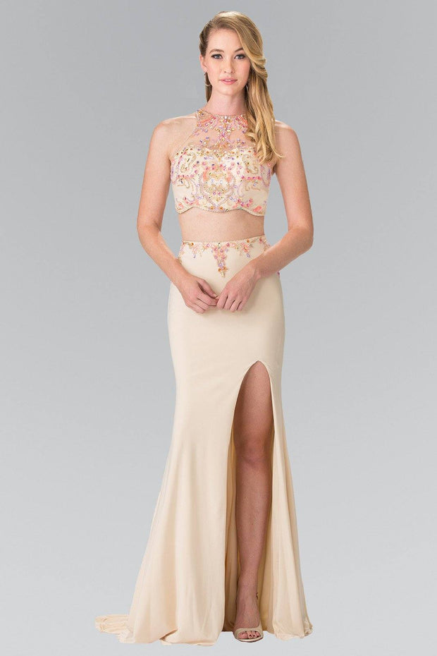Beaded Two-Piece Illusion Dress with Slit by Elizabeth K GL2277-Long Formal Dresses-ABC Fashion