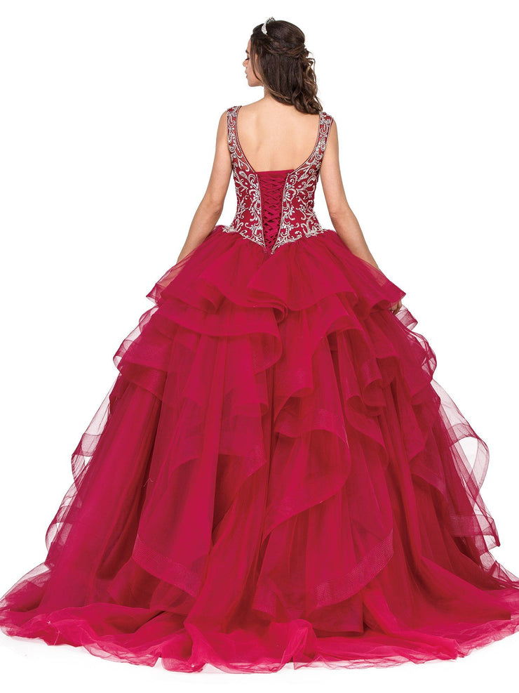Beaded V-Neck Ball Gown with Layered Skirt by Dancing Queen 1292