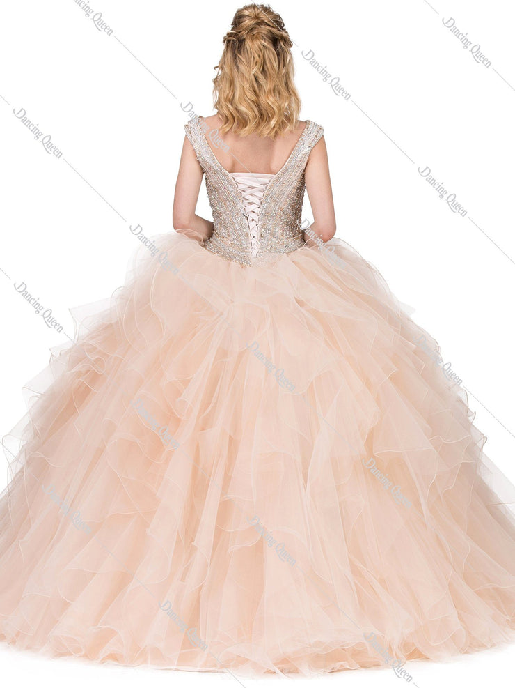 Beaded V-Neck Ball Gown with Ruffled Skirt by Dancing Queen 1273-Quinceanera Dresses-ABC Fashion