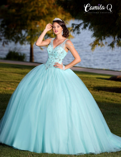 Beaded V-Neck Quinceanera Dress by Camila Q Q18002-Quinceanera Dresses-ABC Fashion