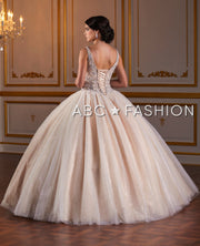 Beaded V-Neck Quinceanera Dress by Fiesta Gowns 56383-Quinceanera Dresses-ABC Fashion