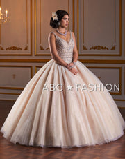 Beaded V-Neck Quinceanera Dress by Fiesta Gowns 56383 (Size 10 - 18)-Quinceanera Dresses-ABC Fashion