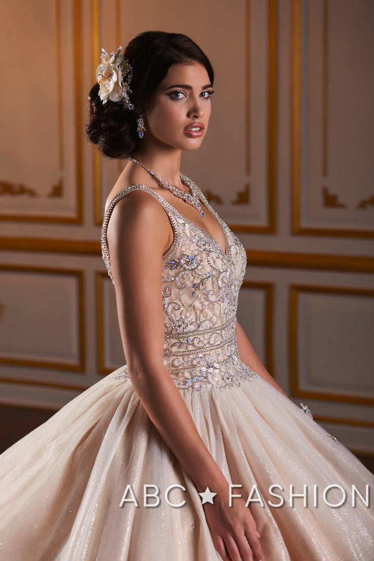 Beaded V-Neck Quinceanera Dress by Fiesta Gowns 56383 (Size 20 - 28)-Quinceanera Dresses-ABC Fashion