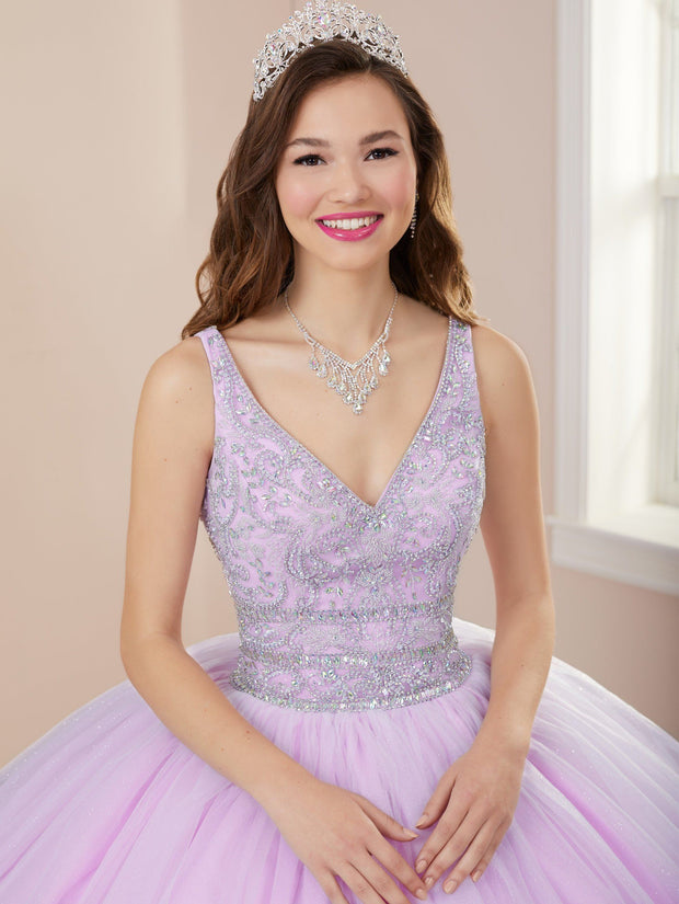 Beaded V-Neck Quinceanera Dress by Fiesta Gowns 56410