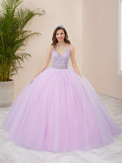 Beaded V-Neck Quinceanera Dress by Fiesta Gowns 56410 (Size 18 - 26)