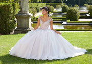 Beaded V-Neck Quinceanera Dress by Mori Lee Valencia 60131