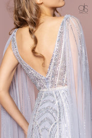 Beaded V-Neck Tulle A-line Grecian Dress by GLS Gloria GL2699-Long Formal Dresses-ABC Fashion
