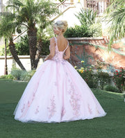Beaded V-Neck Tulle Ball Gown by Dancing Queen 1546