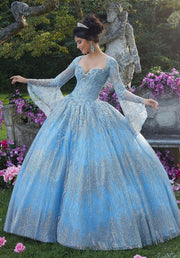 Bell Sleeve Glitter Quinceanera Dress by Mori Lee Vizcaya 89268-Quinceanera Dresses-ABC Fashion