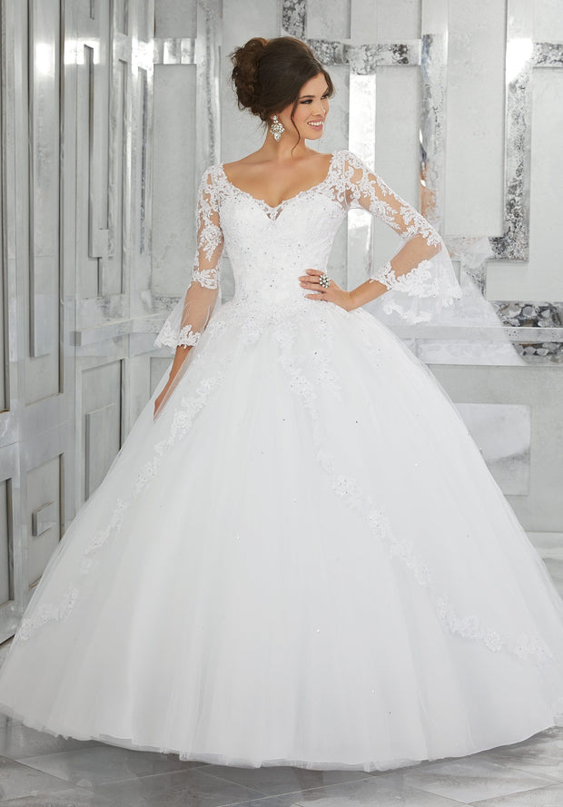 Bell Sleeve Lace Quinceanera Dress by Mori Lee Valencia 60015-Quinceanera Dresses-ABC Fashion