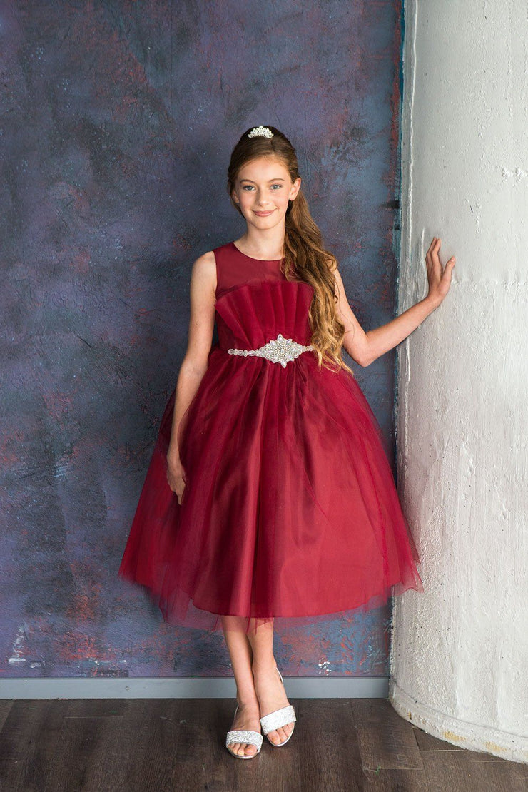 Big Girls Pleated Tea Length Tulle Dress by Calla D793