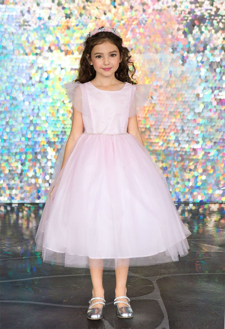 Big Girls Tulle Dress with Short Sleeves by Calla D794