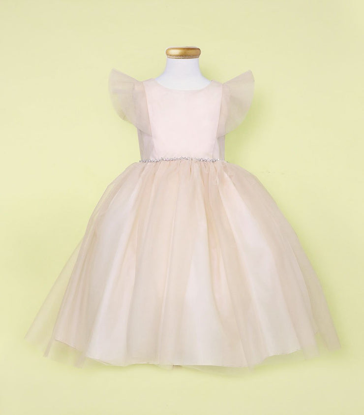 Girls Long Tulle Dress with Short Ruffled Sleeves by Calla D794-Girls Formal Dresses-ABC Fashion