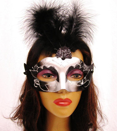 Black and Silver Masquerade Masks with Feathers-Masquerade Masks-ABC Fashion
