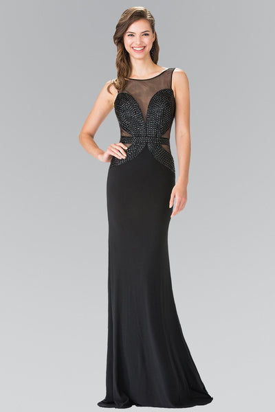 Black Beaded Illusion Dress with Open Back by Elizabeth K GL2234-Long Formal Dresses-ABC Fashion