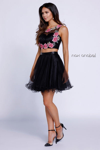 Black Crop Top Floral Embroiderered Dress by Nox Anabel 6228-Short Cocktail Dresses-ABC Fashion