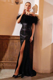 Black Feather Boa Gown by Cinderella Divine CD947