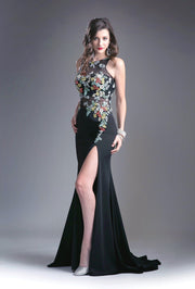 Black Floral Embroidered Illusion Dress with Slit by Cinderella Divine 6395-Long Formal Dresses-ABC Fashion