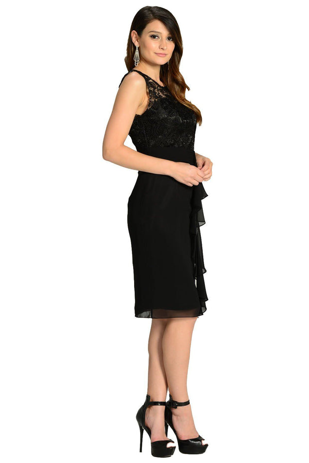 Black Knee Length Chiffon Dress with Lace Top by Poly USA-Short Cocktail Dresses-ABC Fashion