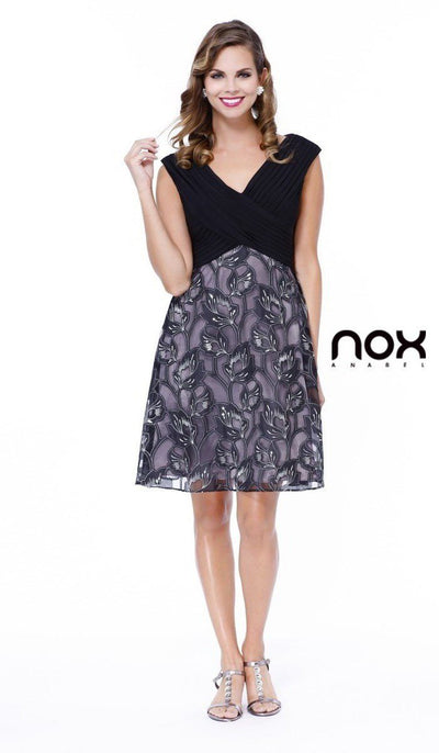 Black Knee Length Dress with Floral Print Skirt by Nox Anabel 5132-Short Cocktail Dresses-ABC Fashion