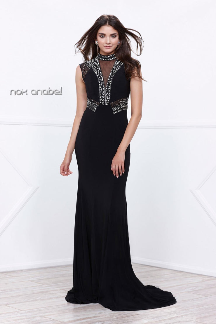 Black Long Sleeveless Beaded Illusion Dress by Nox Anabel 8285-Long Formal Dresses-ABC Fashion