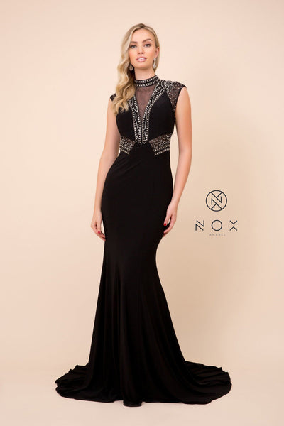 Black Long Sleeveless Beaded Illusion Dress by Nox Anabel 8285