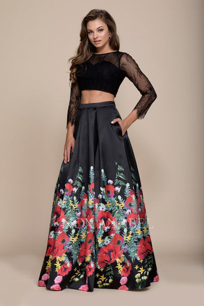 Black Long Two-Piece Dress with Floral Print Skirt by Nox Anabel 8371-Long Formal Dresses-ABC Fashion