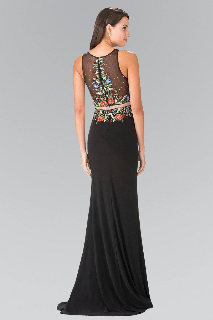 Black Mock Two-Piece Floral Embroidered Dress by Elizabeth K GL2241-Long Formal Dresses-ABC Fashion