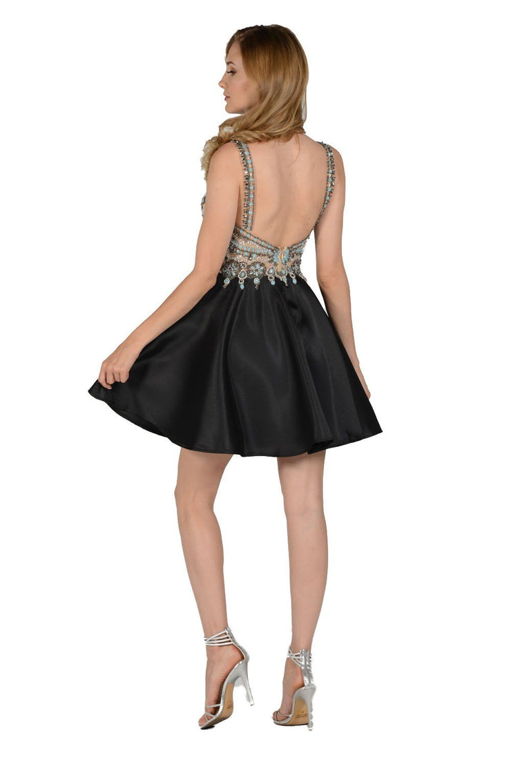 Black Short Dress with Blue Beaded Bodice by Poly USA-Short Cocktail Dresses-ABC Fashion