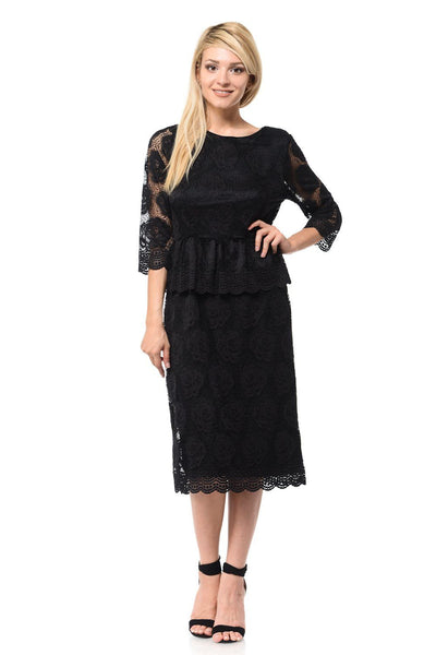Black Short Floral Lace Dress with Sleeves by Lenovia-Short Cocktail Dresses-ABC Fashion