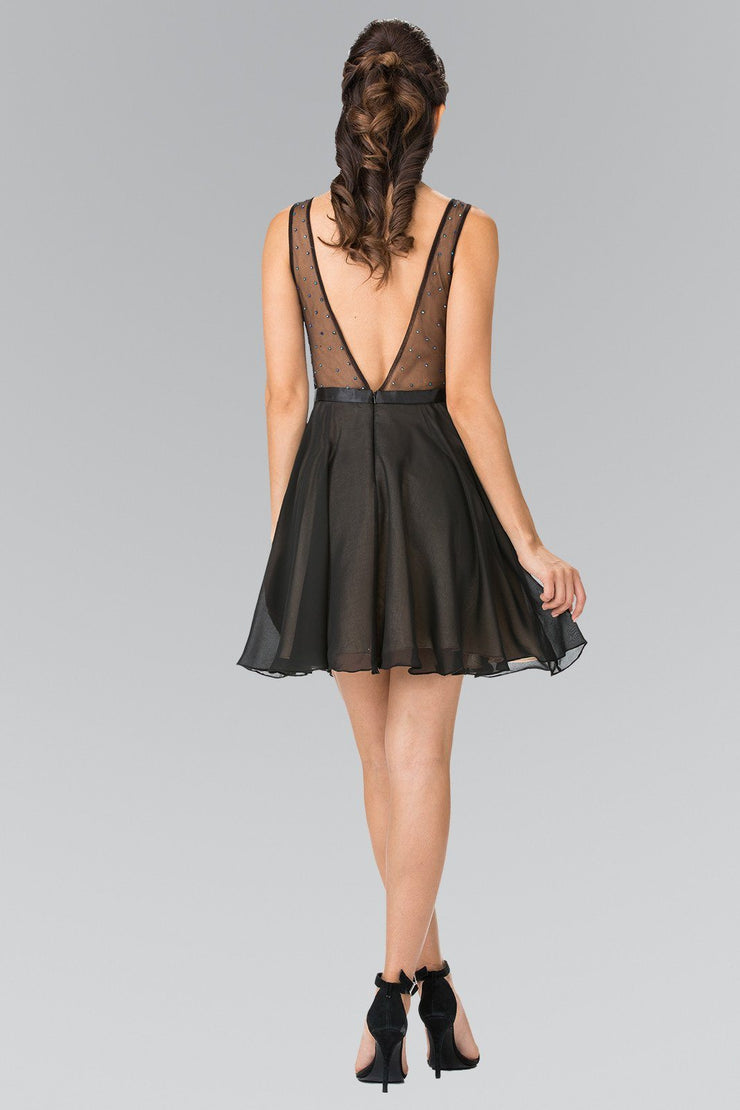 Black Short Illusion Dress with Beaded Lace Top by Elizabeth K GS1466-Short Cocktail Dresses-ABC Fashion