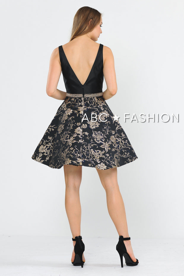 Black Short V-Neck Dress with Print Skirt by Poly USA 8404-Short Cocktail Dresses-ABC Fashion