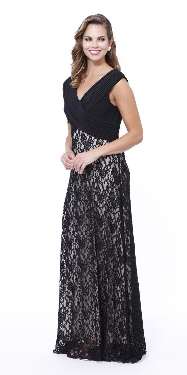 Black Sleeveless Dress with Lace Skirt by Nox Anabel 5119-Long Formal Dresses-ABC Fashion