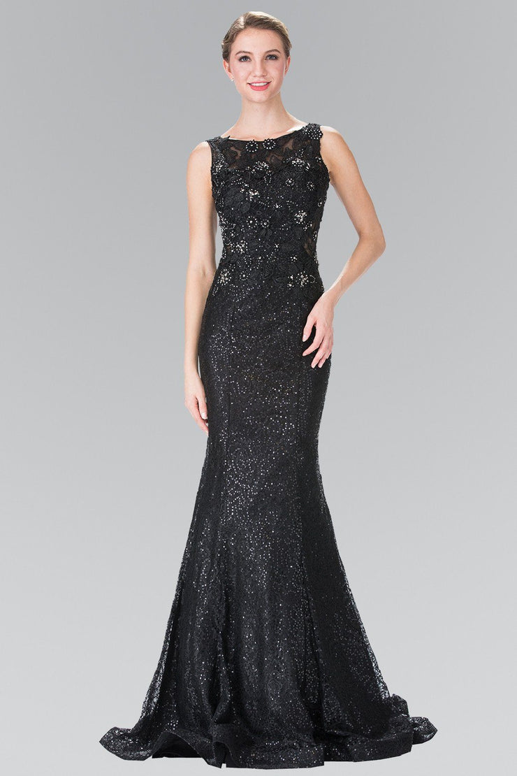 Black Sleeveless Sequined Lace Dress by Elizabeth K GL2345-Long Formal Dresses-ABC Fashion