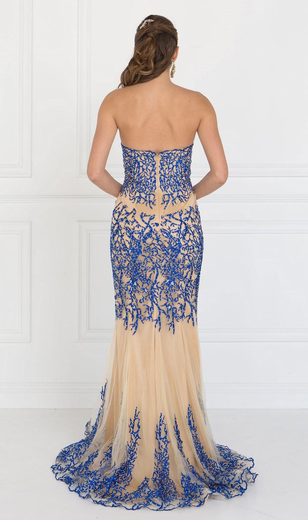 Black/Nude Strapless Beaded Mermaid Gown by Elizabeth K GL2055-Long Formal Dresses-ABC Fashion