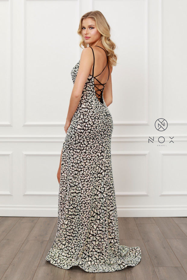 Black/Silver Sequin Fitted Gown by Nox Anabel E479