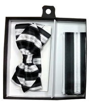 Black/Silver Striped Bow Tie with Pocket Square (Pointed Tip)-Men's Bow Ties-ABC Fashion