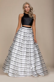Black/White Long Two-Piece Dress with Striped Skirt by Nox Anabel C033-Long Formal Dresses-ABC Fashion