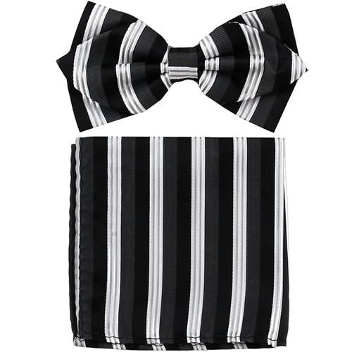 Black/White Striped Bow Tie with Pocket Square (Pointed Tip)-Men's Bow Ties-ABC Fashion