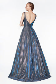 Blue A-line Iridescent Glitter Gown by Cinderella Divine CB0034-Long Formal Dresses-ABC Fashion
