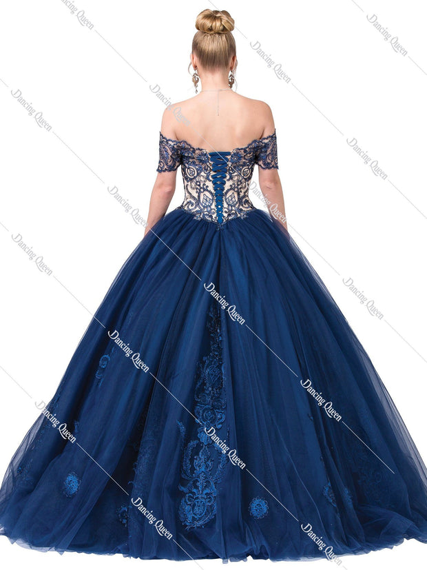 Blue Embroidered Off Shoulder Ball Gown by Dancing Queen 1391-Quinceanera Dresses-ABC Fashion