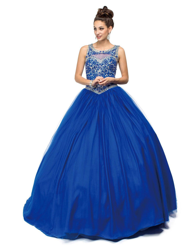 Blue Jeweled Illusion A-line Ball Gown by Dancing Queen 1121-Quinceanera Dresses-ABC Fashion