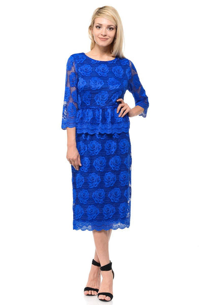 Blue Short Floral Lace Dress with Sleeves by Lenovia-Short Cocktail Dresses-ABC Fashion