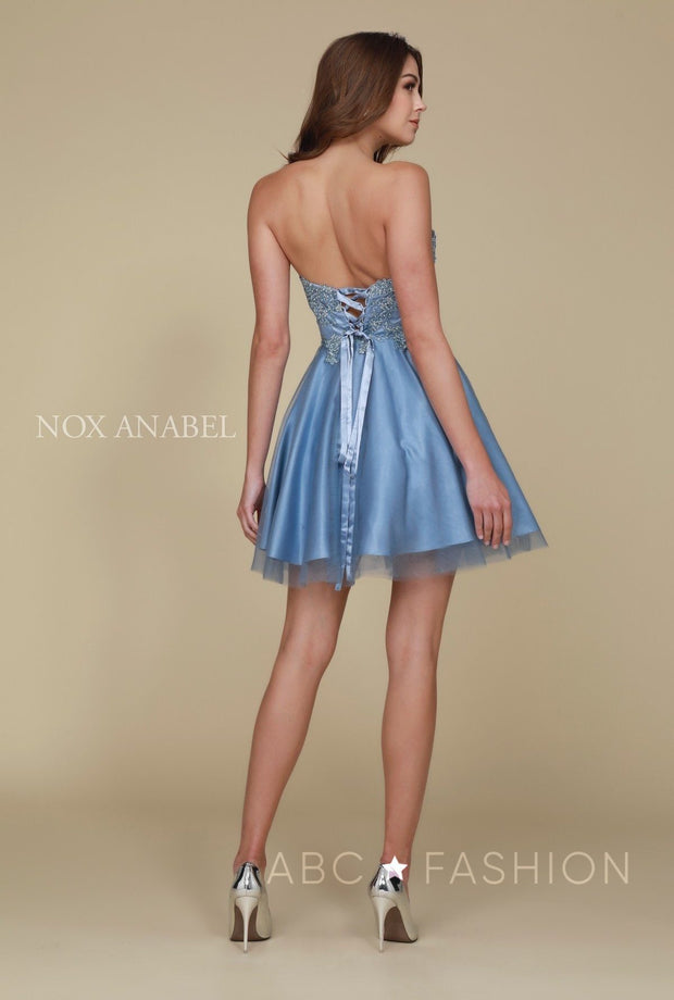 Blue Short Strapless Sweetheart Dress by Nox Anabel G651-Short Cocktail Dresses-ABC Fashion