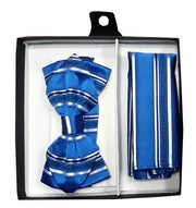 Blue Striped Bow Tie with Pocket Square (Pointed Tip)-Men's Bow Ties-ABC Fashion