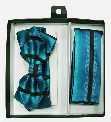 Blue/Black Striped Bow Tie with Pocket Square (Pointed Tip)-Men's Bow Ties-ABC Fashion